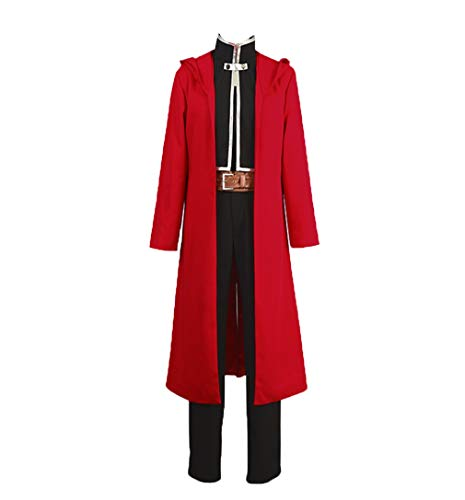 COSEASY Fullmetal Alchemist Edward Elric Uniform Cosplay Costume Halloween Suit Red Robe Full Set -
