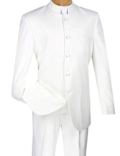 (Business Suit New York Regular Fit Men's 2 Piece 8 Buttons Banded Collar Tuxedo White)