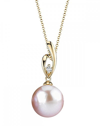Gold Diamond Pink Pearl Pendant (14K Gold Pink Freshwater Cultured Pearl & Diamond Lois Pendant Necklace - AAAA Quality)