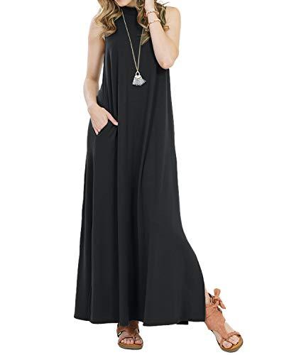 - Mongolulu Women Casual Loose Sleeveless Round Neck A-Line Tunic Long Dress Black XL