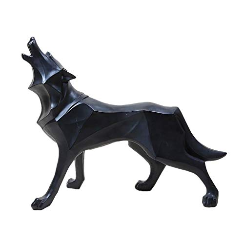 (Resin Abstract Totem Wolf Dog Sculpture Figurine Craft Home Table Decoration Geometry Resin Wildlife Dog Figurine Craft (Black))