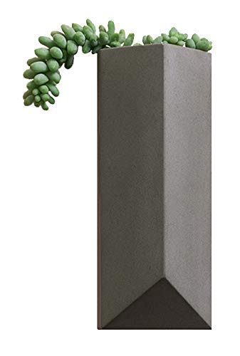 hrubie Farmhouse Modern Geometric Wall Hanging Plant Holder | Gray Cement/Concrete Planter Pot Ideal for Succulents, Cactus, Orchids, Dried & Faux Flowers | Indoor/Outdoor, Mounting Hardware Included