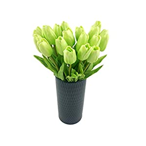 Fupot 20 Heads Light Green Real Touch PU Tulips Flowers Artificial Tulip Fake Flowers Bouquet Wedding Home Party Decor 39