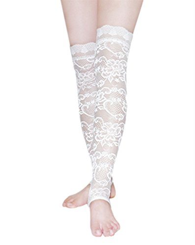 Women lady Lace floral sheer Over-Knee thigh High Footless Leg Warmer boot socks (White-1)