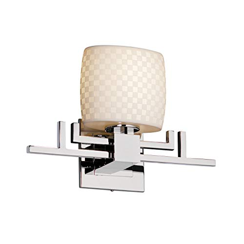 Justice Design Group Limoges 1-Light Wall Sconce - Polished Chrome Finish with Checkerboard Translucent Porcelain Shade