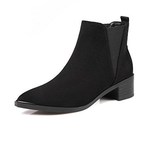 Inconnu Hiver Automne Femmes Boots Chelsea Bout Pointu Basse Bloc Suédé Microfibre Demi Botte Cheville Rétro Noir 35 Yq1jiPKg