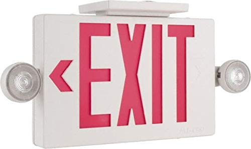 (Cooper Lighting - 1 and 2 Face, 2 Head, 120-277 Volt, Thermoplastic, LED Combination Exit Sign)