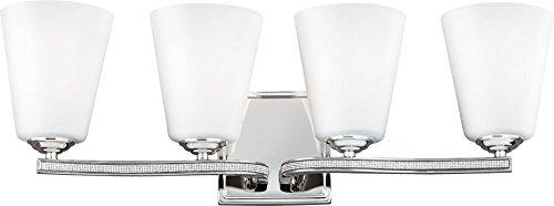 Feiss VS20204PN Pave Crystal Wall Sconce Lighting, Chrome, 4-Light (24