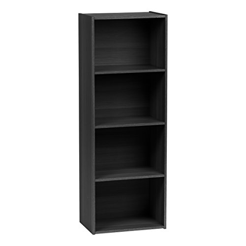IRIS USA 596482 4-Tier Wood Storage Shelf Black