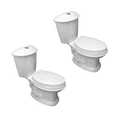 White Toilet Porcelain Elongated Push Button Dual Flush Toilet With Seat Water Saver Set Of 2