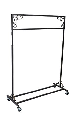 Boutique Vintage Salesman Rolling Rack - Single Rail 48''W X 20''D X 48-66''H by STORE001