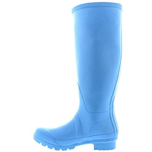 Womens Original hohe Schnee Winter wasserdichte Regen Gummistiefel Gummistiefel Hellblau