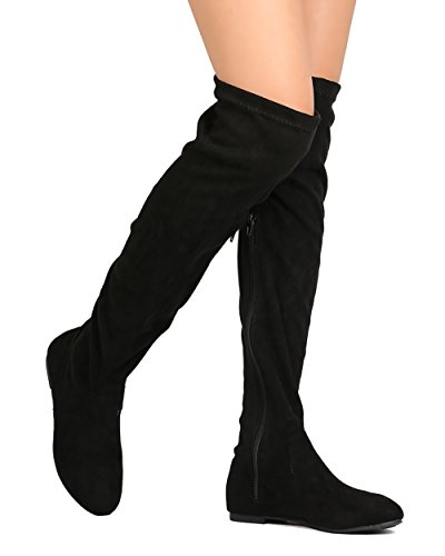Women's Over The Knee Flat Boots Stretchy Back Lace Tie Up Low Heel Winter Thigh High Dress Boots Grey 8