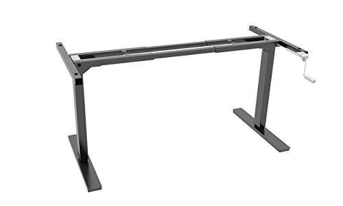 Ergo Elements Adjustable Height Standing Desk with Manual Hand Crank Base, Black