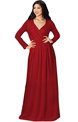 KOH KOH Plus Size Women Long Sleeve Sleeves Empire Waist Floor-Length Cocktail Elegant Evening Fall Modest Winter Formal Abaya Cute Gown Gowns Maxi Dress Dresses, Crimson Red XL 14-16 (3)