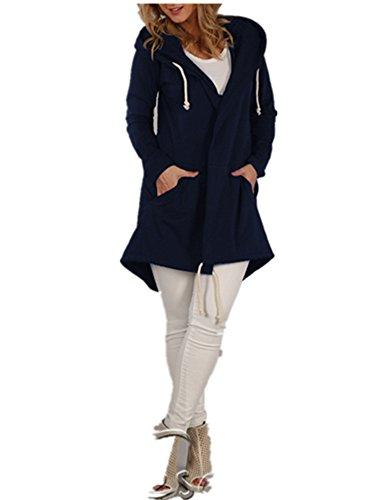 Xuan2Xuan3 Women Long Sleeve Fleece Casual Cardigan Hoodies Sweatshirts Tunic Sweater Loose Outerwear Coat Jacket (XLarge, Dark Blue) (Hooded Pink Cardigan)