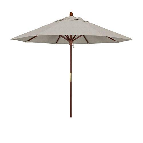 California Umbrella 9' Round Hardwood Frame Market Umbrella, Stainless Steel Hardware, Push Open, Woven Granite Olefin ()