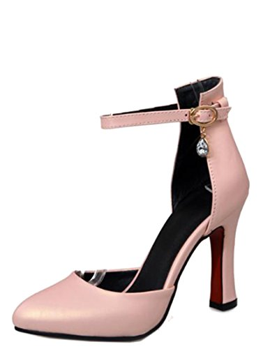 Laruise Women's EuroStyle High Heel Sexy Shoes Pink CTL21a
