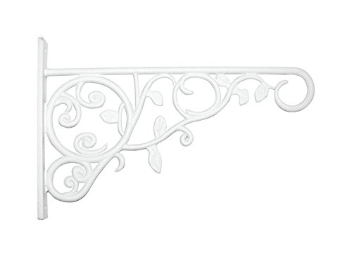 Panacea 100057107 Plant Bracket with Leaves, White, 9