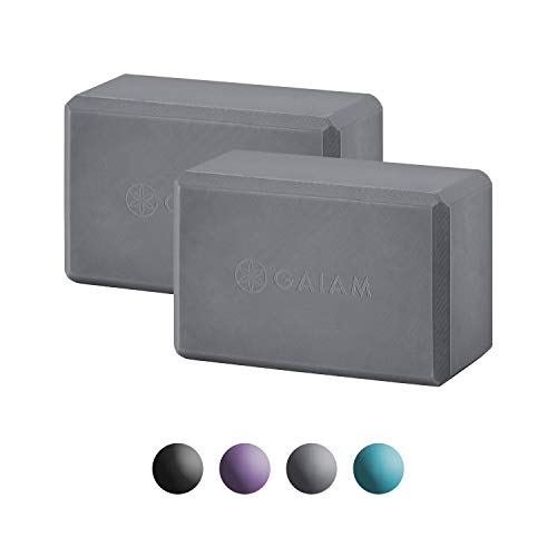 Gaiam Essentials Yoga Block (Set of 2) - Supportive Latex-Free EVA Foam Soft Non-Slip Surface for Yoga, Pilates, Meditation, Grey