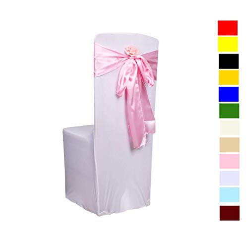 Fvstar 25pcs Chair Ribbons Bows Satin Wedding Chair Bows Elegant Party Chair Ribbons Decorative Chairs Cover Sashes Tie Bands for Birthday Events Supplies Baby Shower Banquet Decorations,Pink