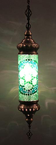 Handmade, Authentic, Mosaic Chandelier, Tiffany Style Glass, Moroccan/Ottoman Style Night Lights (Green, Single Cylinder)
