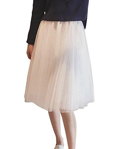 Femme Jupe en tulle de Soire/de Bal Pliss Midi-jupe au Genou Taille lastique lgant Blanc