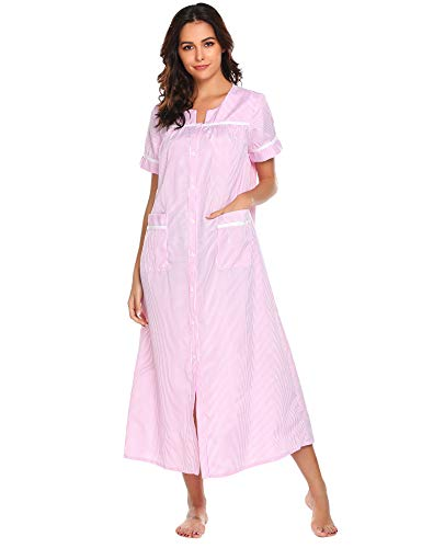 - Ekouaer Chemises Women's Striped Nightgown Short Sleeve Housecoats and Dusters (Pink,S)