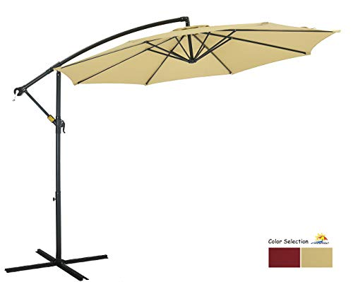 Patio Watcher 10ft Offset Cantilever Patio Umbrella Outdoor Market Hanging Umbrella with Crank & Cross Base for Backyard, Garden, Lawn and Pool – Beige