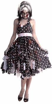 Woman's Zombie Housewife Costume, Black/White, One Size -
