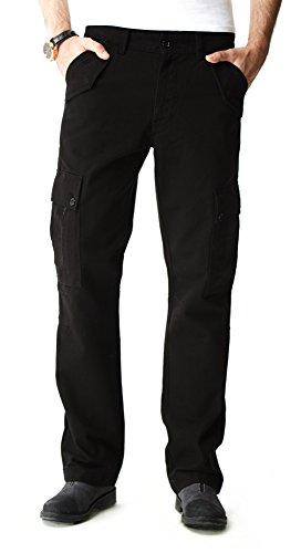 ASPOP Jeans Men's Loose-Fit Cargo Pant,38 X 32,Black -