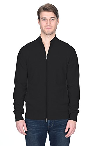 (State Fusio Men's Cashmere Wool Full-Zip Mock Neck Cardigan Sweater Premium Quality Black)