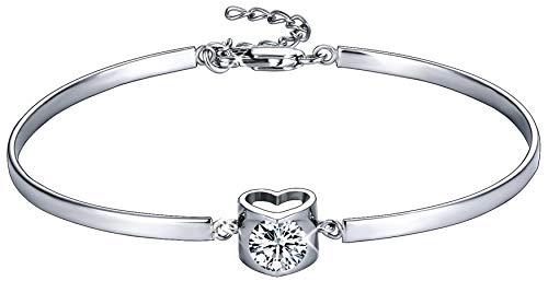 MUATOGIML 925 Sterling Silver Love Heart Adjustable Bangle Bracelet for Women Girls ()