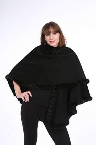 Black Loro Piana Cashmere Mink Whipstitch Cape ()