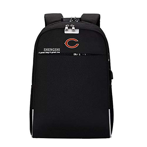 CHNNFC Fits Laptop Notebook up to 15.6 Inches Laptop Backpack Travel Computer Bag for Men Women with USB Charging Port and Headphone Port, Anti-Theft and Waterproof - Pick Chicago Bears