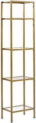 - Crosley Furniture CF6114-GL Aimee Narrow Etagere Bookcase - Gold and Glass