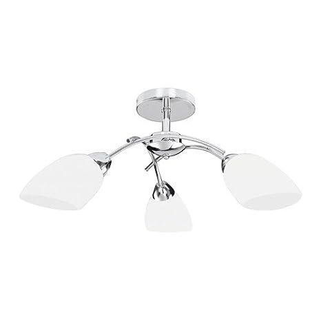 Lámpara de techo VILETTA, 3-techo, cromo/blanco eficiencia ...