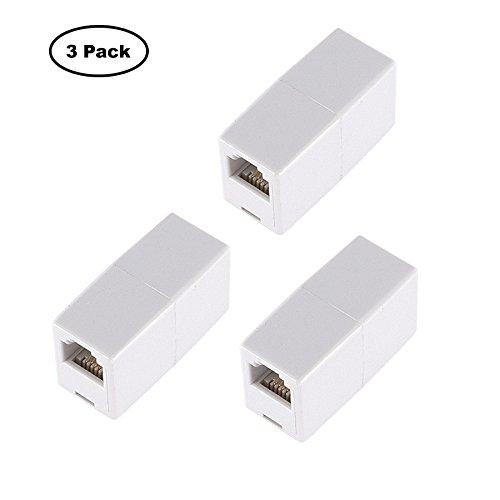 (Optimal Shop 3 Pack RJ45 Coupler Cat6/Cat5e Ethernet Cable Extender Adapter Female to Female (White) (3 Pack))