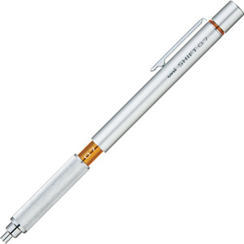 Uni M71010.26 Shift Pipe Lock Drafting 0.7mm Pencil, Silver Body with Orange Accent (M71010.26)