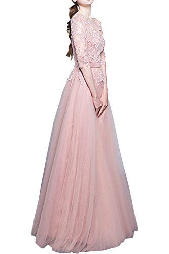 Spitze Tuell Abendkleid Ivydressing Linie Halb Festkleid Rosa Promkleid Partykleid Damen Traumhaft Aermel A n0PS0g6