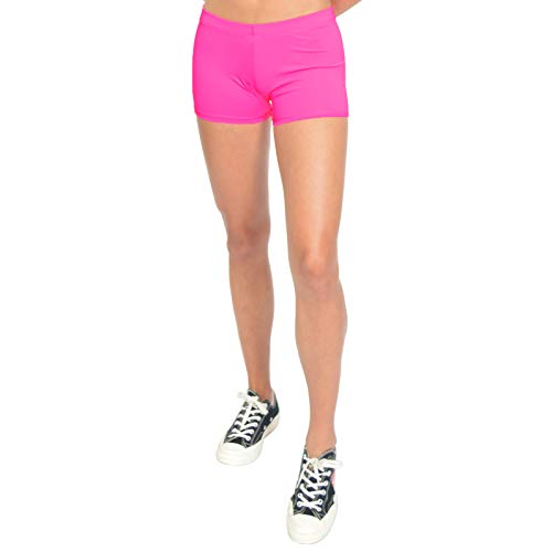 Stretch is Comfort Girl's NYLON SPANDEX Stretch Booty Shorts Hot Pink Large - Hot Girls Spandex Shorts