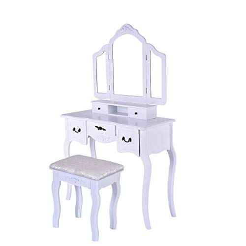 Sonmer Vanity Set with Mirror, Cushioned Stool, Storage Shelves, Drawers Dividers ,3 Style Optional, Shipped from US - Two Day Shipping (#3, White) by Sonmer (Image #8)