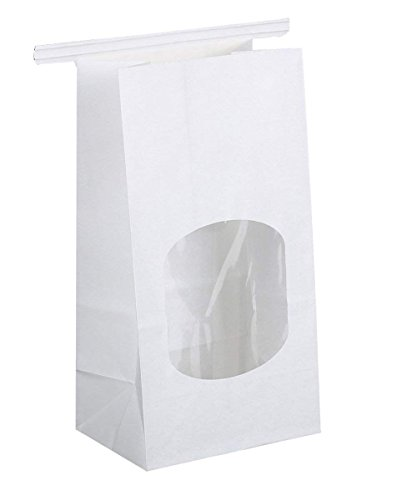 BagDream Bakery Bags with Window Wax Kraft Paper Bags 100pcs 3.54x2.36x6.7 Tin Tie Tab Lock Bags White