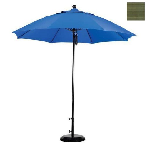 California Umbrella EFFO908-FD11 9 ft. Complete Fiberglass Market Umbrella Pulley Open Black-Olefin-Terrace Fern