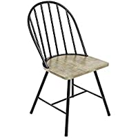 Novogratz Leo Farmhouse Dining Chair, Rustic and Modern Style, Black Metal Frame with Grey Wood Seat