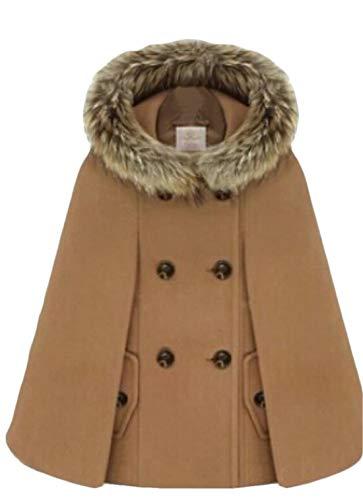 BYWX Women Winter Thick Double Breast Fur Faux Wool Blend Cape Coat Camel US M