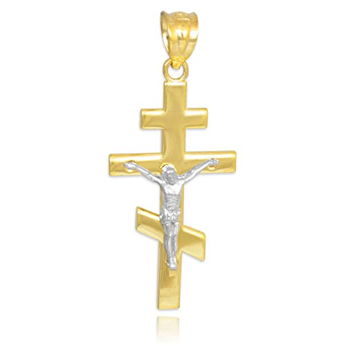 10 ct 471/1000 Deux-Tons Or Orthodoxe Russe Crucifix Pendentif