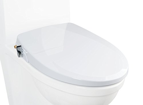 Alpha ONE V2 Bidet Seat - IMPROVED DESIGN - Elongated - Non-Electric Dual Nozzles - Ultra Low Profile - Powerful Spray - EZ 1 Lever Control - Brass Valve and Fittings - Sturdy Sittable Lid