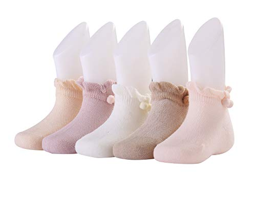 Toddler Socks Girls and Boys - Cotton Crew Baby Socks Idea Gift for Birthday and Other Festival,Box Set Gripper Socks for Kids(12-24month, 5prs Fluffy Balls lace) - Gripper Box
