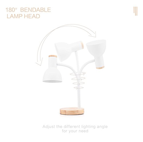 PINSOON LED Desk Lamp with Flexible Goose-Neck 2 Bulb Energy Saving for Bedside Table, Bedroom Study, and Office